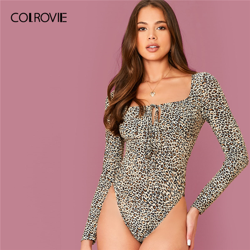 COLROVIE Multicolor Tie Neck Leopard Bodysuit Women Square Neck Elegant Bodysuit 2019 Fall Sexy Skinny Bodysuits