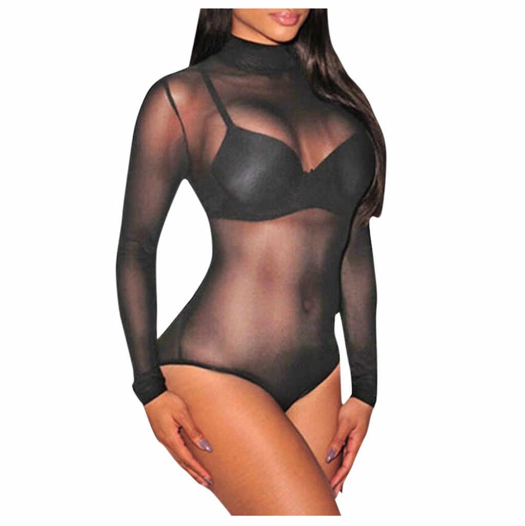 Gợi Cảm Nữ Quần Lót Một Mảnh Bodysuit Đồ Ngủ Váy Ngủ Sheer Lưới Leotard Cổ Tròn Đồ Lót Nữ Ren Đen Bodysuit Quần Lót