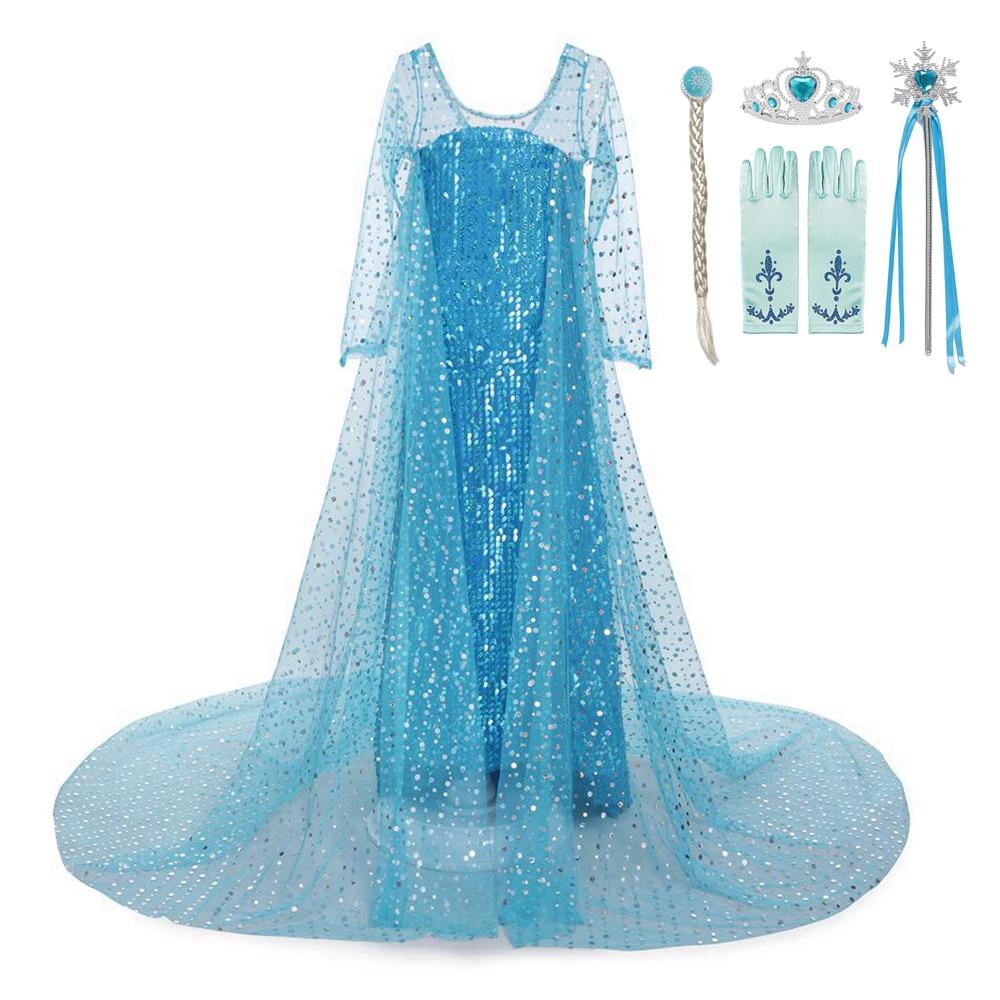 Платье Эльзы на Хэллоуин, нарядный костюм для девочек, платья принцессы, элегантное Сетчатое платье с длинным рукавом для выпускного вечера...