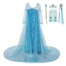 Halloween elsa vestido meninas fantasia festa vestidos de princesa elegante manga longa malha vestido de baile roupas da menina