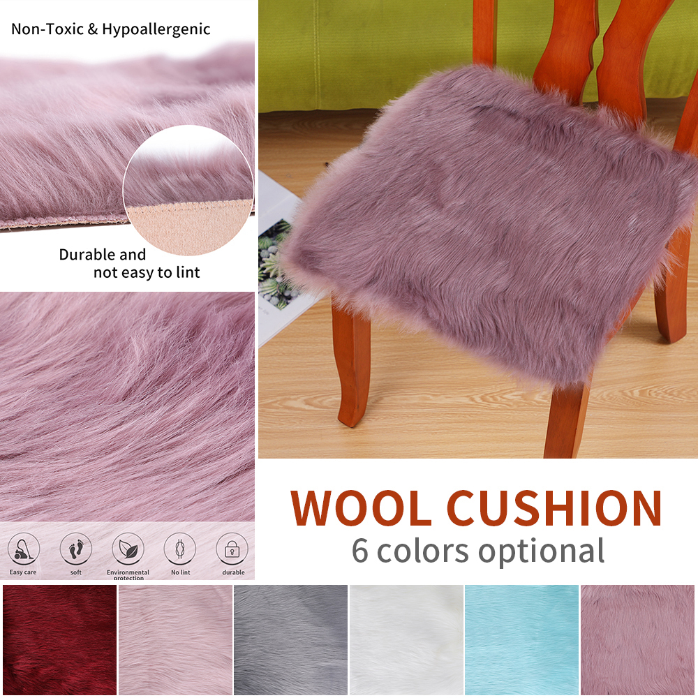 Faux Sheepskin Chair Cover MultiColors Warm Hairy Wool Carpet Seat Pad Long Skin Fur Plain Fluffy Area Rugs Washable