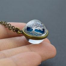 Двухстороннее ожерелье с подвеской в виде стеклянного шара из