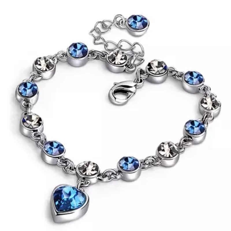 Oostenrijkse Kristal Armband Voor Vrouw Koreaanse Pulsera Blauwe Oceaan Hart Hanger Mode Banket Sieraden Goede Vrienden Gift Hot