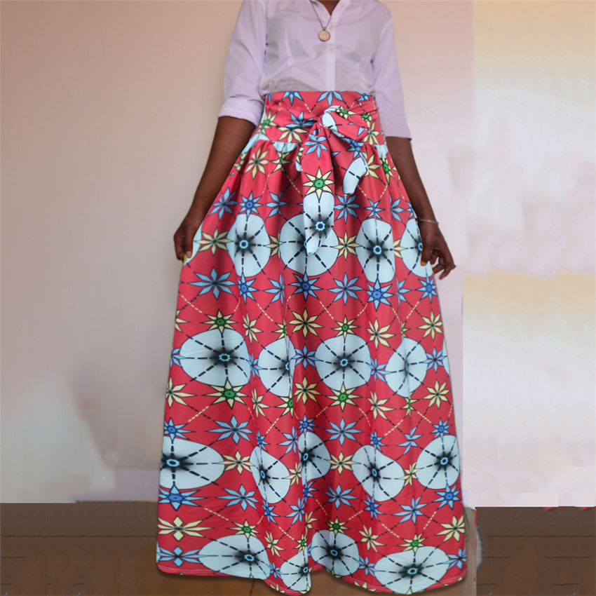 2019 News Afican Dresses For Women Dahsiki Print Floral Bazin African Clothes Plus Size Vestidos Fashion Long Skirts Clothing