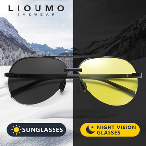 Image 1 - 항공 선글라스 남자 편광 된 브랜드 데이 나이트 비전 운전 안경 여성 photochromic sun glasses 남성 uv400 oculos de sol