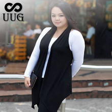 UUG Women Big Size Vest Waistcoat XXL Female Large Plus Size Clothing Sleeveless Outwear Spring Summer Cardigan Casual Clothing(China)