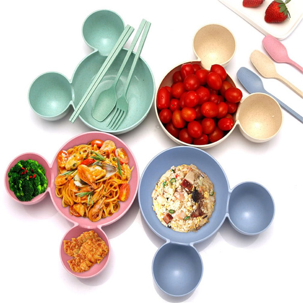 Baby Food Set Mickey Wheat Straw Children's Rice Bowl  Eco-friendly Fruits Kids Plate Baby Dishes Tableware Bowl Babies Feeding