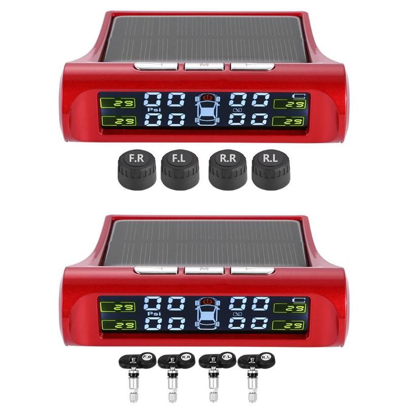 Беспроводная Солнечная ЖК автомобильная система контроля давления шин с 4 внутренними/внешними датчиками красного цвета