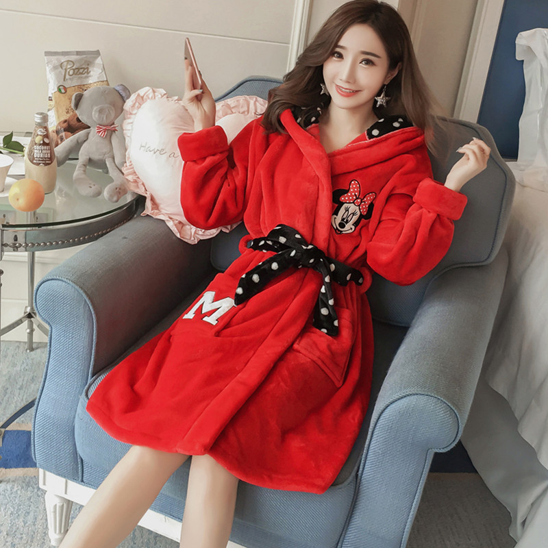 Women's Robes Women's Winter Long Sleeve Thick Flannel Cute Cartoon Mickey Red Coral Velvet Warm Pajamas Women's Women's Robes