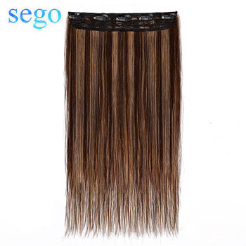 SEGO 10-24 Clip In One Piece 100% Real Human Hair Extension 1p/w 5 clips Non-Remy Piece Straight Indian Hair 40g-60g image