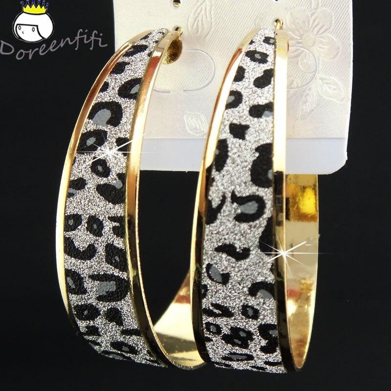Лидер продаж, модные женские серьги-кольца с принтом зебры из матового серебра, большие вечерние ювелирные изделия, женские серьги в подарок - Окраска металла: big leopard