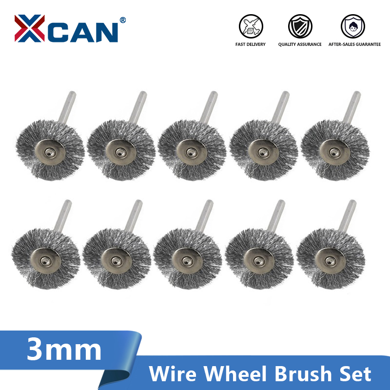 XCAN Wheel Brush Kit 10pcs 22mm Stainless Steel/Brass/Nylon For Polishing Grinding 3.0mm Shank Rotary Polishing Brush
