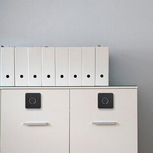 Image 3 - Smart Keyless Fingerprint Cabinet Lock Biometric Electric Lock Fingerprint Drawer Lock for Office Drawer File Cabinet Black