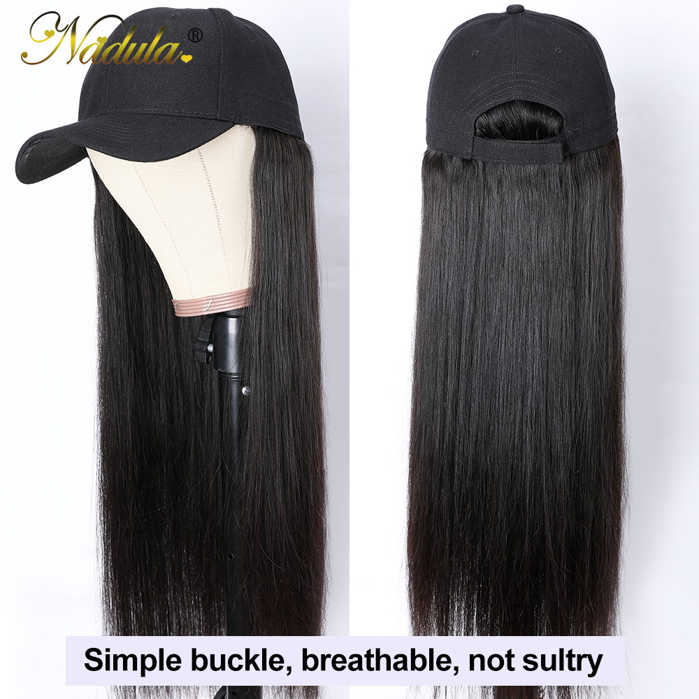 Nadula Straight Hat With Hair Wig  20inch Hat Wig Baseball Cap Wig Hat With Straight  Wigs 150% Density 3
