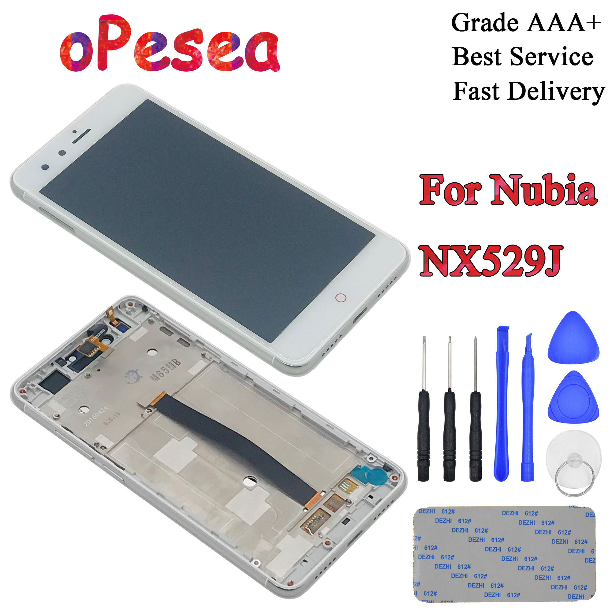oPesea 5.0'' For <font><b>ZTE</b></font> <font><b>Nubia</b></font> <font><b>Z11</b></font> <font><b>Mini</b></font> NX529J LCD Display Panel <font><b>Touch</b></font> <font><b>Screen</b></font> Digitizer Glass Sensor Assembly With Frame Replacement image