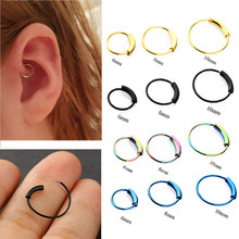 1PC Fashion Simple Stainless Steel Piercing Nose Ring Hoop Lip Ear Ring 6/8/10mm Body Body Nose Piercing Jewelry Ear Piercing(China)
