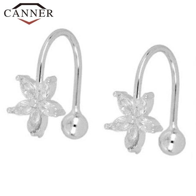 1 pair of 925 Sterling Silver Snowflake Ear Cuff Without Piercing Clip Earrings for Women Crystal Zircon Clip on Earrings 2