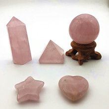 5pcs A lot Rose Quartz Pyramid Tower Heart Stone Set 7 chakra crystal Magic Healing stones