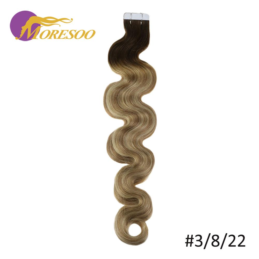 Moresoo Body Wave Tape In Hair Extension Machine Remy 20PCS/50G 14-24inch Real Human Hair Hair Extensions