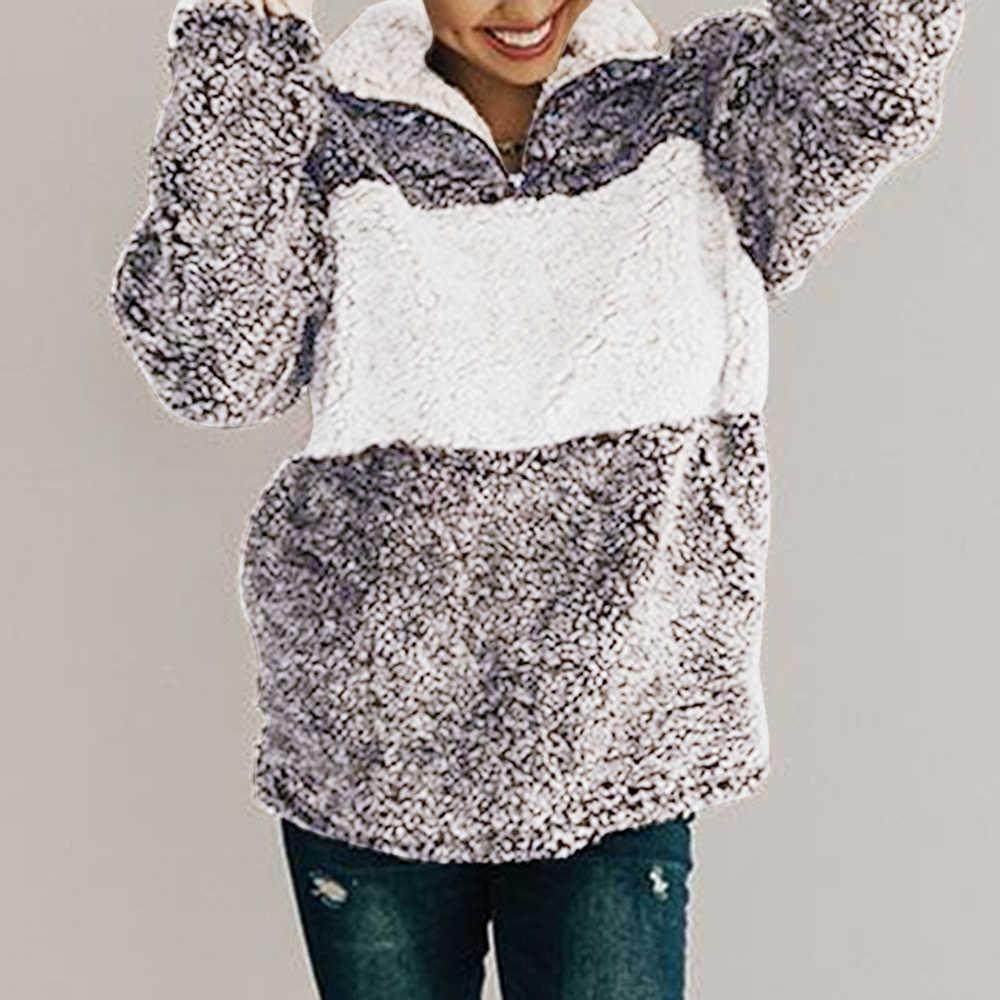 CALOFE 2019 Novas Mulheres Camisola Do Hoodie da Pele Do Falso Fofo De Pelúcia Pullovers Feminino Outono Quente Roupas Top Jaqueta Casaco Com Bolsos