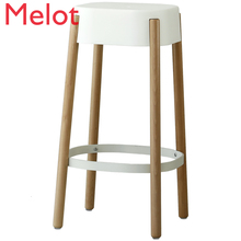 Nordic Solid Wood Bar Counter Chair Stool Originality Modern Simplicity Bar Chair Commercial Furniture Sillas Leather  Cheap