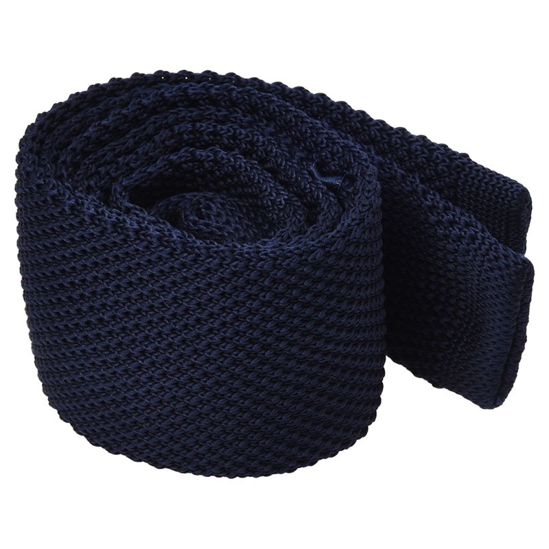 Men's Fashion Solid Tie Knit Knitted Tie Pure Color Necktie Narrow Slim Woven Navy Blue