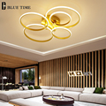 Gold White Black Modern LED Ceiling Lights For Living Room Bedroom Dining Room Circle Rings Luminaires Home Decor Ceiling Lamps