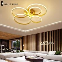 Gold White Black Modern LED Ceiling Lights For Living Room Bedroom Dining Room Circle Rings Luminaires Home Decor Ceiling Lamps