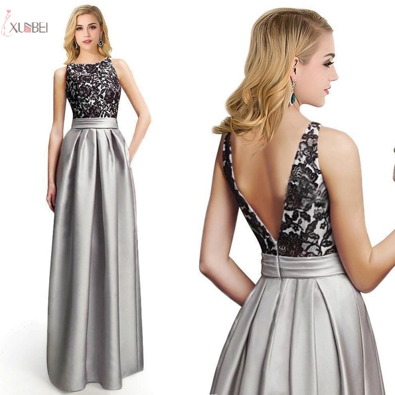 Silver Long   Bridesmaid     Dresses   2019 Elegant Lace Applique Wedding Party Guest Gown Sleeveless robe demoiselle d'honneur