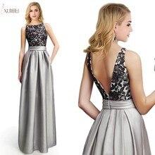 Silver Long Bridesmaid Dresses 2019 Elegant Lace Applique We