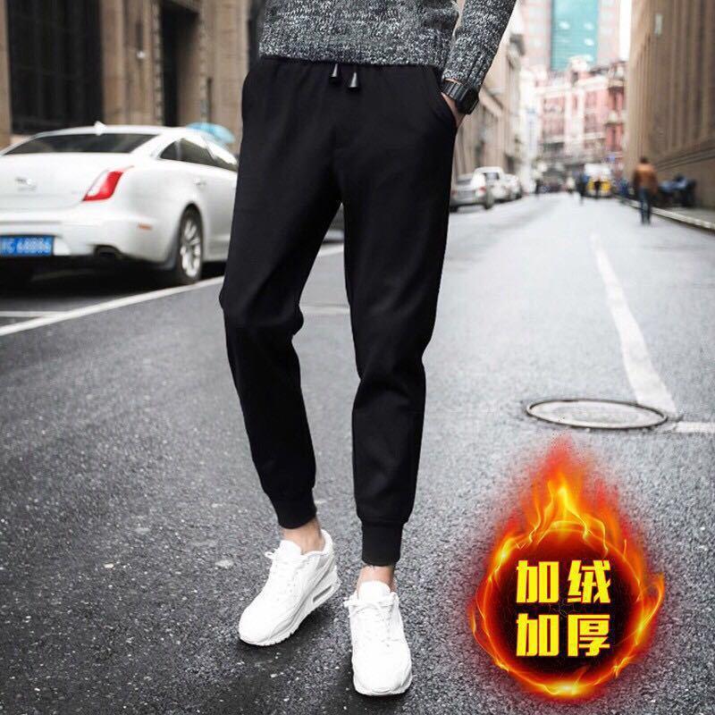 80-200 Wearable Anti-pilling Casual Pants Men Plus Velvet Athletic Pants Korean-style Slim Fit Pants Pants Men's Versatile