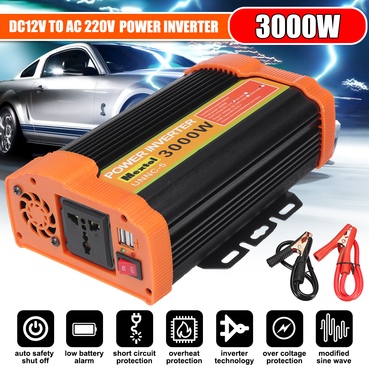Dual USB Max 6000 Watts Solar Power Inverter DC 12 V To AC 220 Volt Car Adapter Charge Converter Modified Sine Wave Transformer