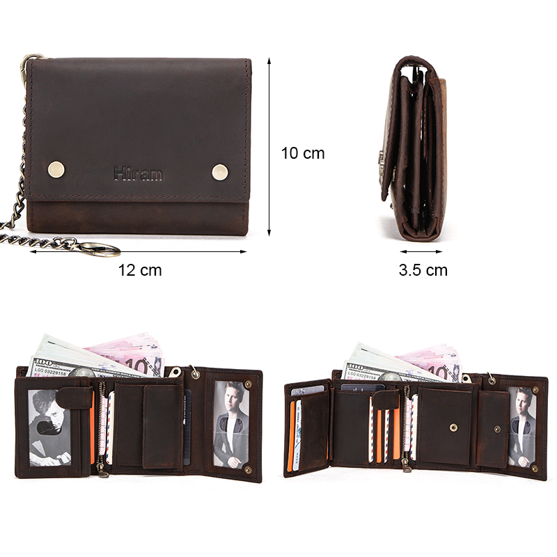 Hiram Crazy Horse Leather Wallet Men Small Coin Purse Money Bag Cow Leather Wallets for Man Anti-theft Chain Card Holder Portfel