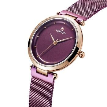 REWARD Fashion New Women Watches Chic Dial Mesh Strap Quartz Japanese Movement Waterproof Wristwatch Girl Clock Relogio Feminino