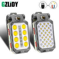 Luz de trabajo COB recargable por USB, linterna LED portátil ajustable, linterna de Camping a prueba de agua, diseño magnético con pantalla de alimentación