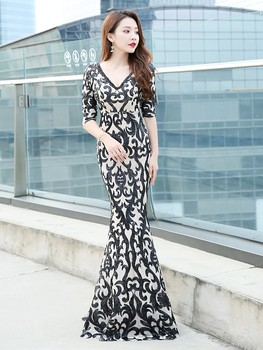 Embroidered Sequined Evening Dress 2020 Long V-neck Fashion Elegance Banquet Vestido De Noche Party Mermaid Gown Prom Dress