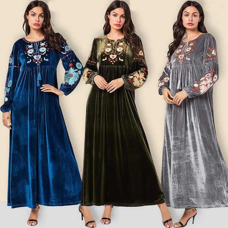 Caftan dubaï Caftan Vestidos Arabes velours Abaya islamique arabe Long Maxi Hijab Robe musulmane turquie Tesettur Elbise Robe Longue