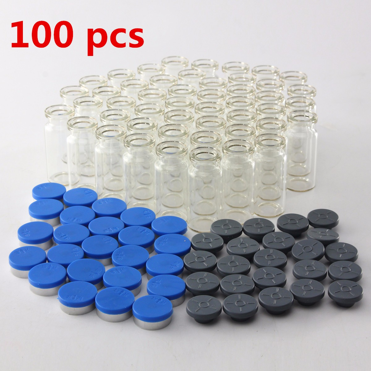 100pcs 10ML Clear Injection Glass Vial/Stopper With Flip Off Caps Small Medicine Bottles Experimental Test Liquid Containers