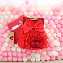 Yoliyolei sukienka niemowlęca pudełko w kolorze czerwonym suknia + buty + opaska + skarpetki komplety noworodki 0M-12M ubranie dla dziewczynki zestaw pudełek tanie tanio Stałe Bez rękawów REGULAR Śliczne Haft Pasuje prawda na wymiar weź swój normalny rozmiar Baby Girls Dress with Gift Box