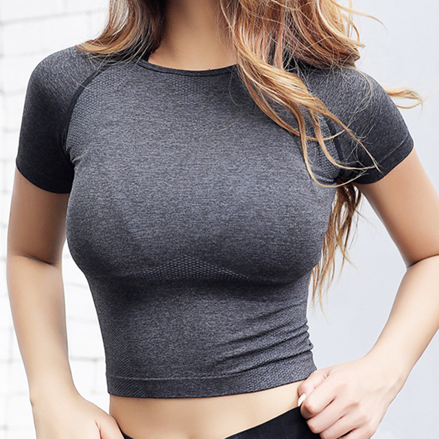 $ US $14.51 Nepoagym Quick Dry Women Cropped Seamless Short Sleeve Top  Womens Workout Tops  Sports Wear for Women Gym  Women Sexy Shirt