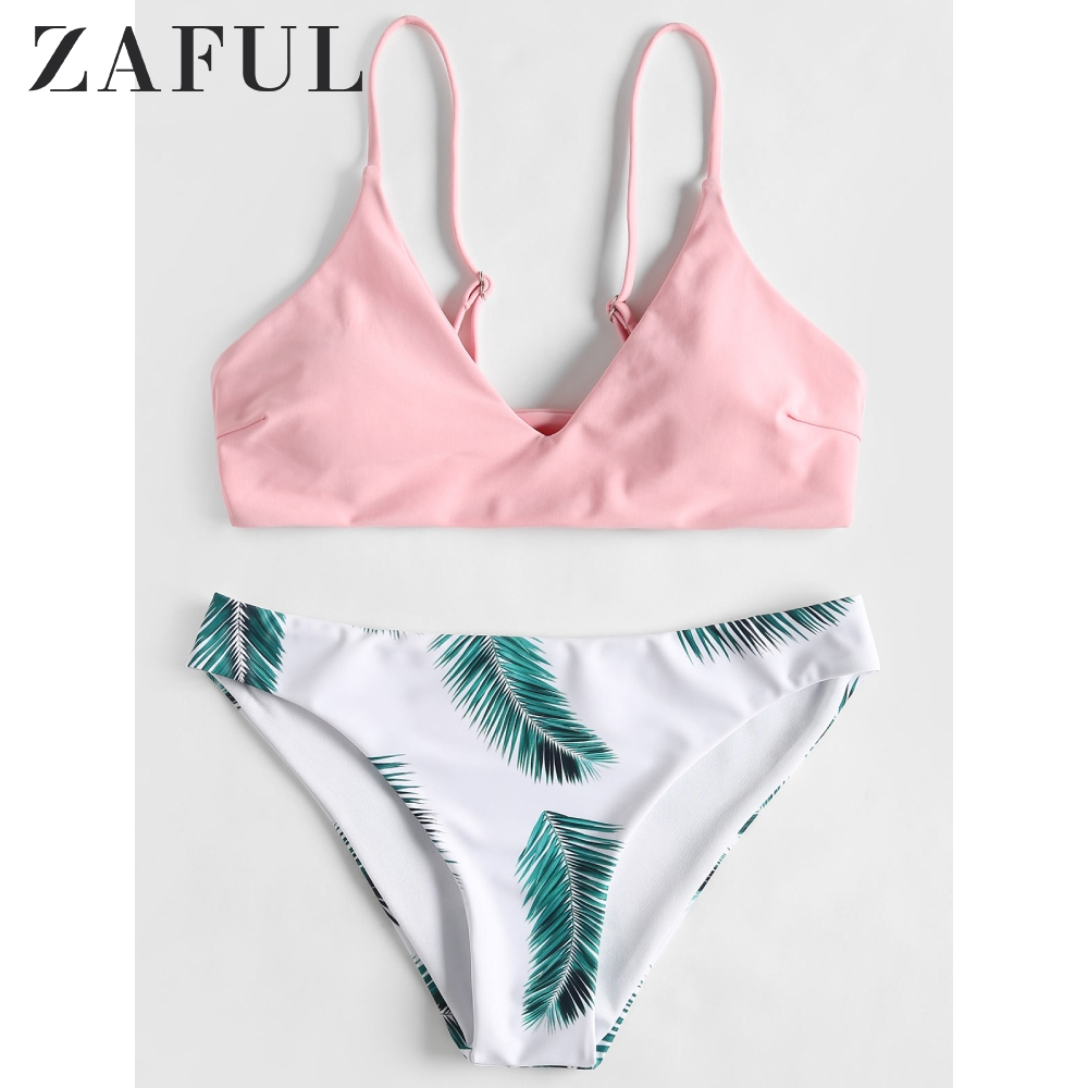 ZAFUL Floral Leaf Print Bikini Set Tropical Neon Bikini Elastic Summer Spaghetti Strap Bra Basic Briefs Women Padded Bikini Set