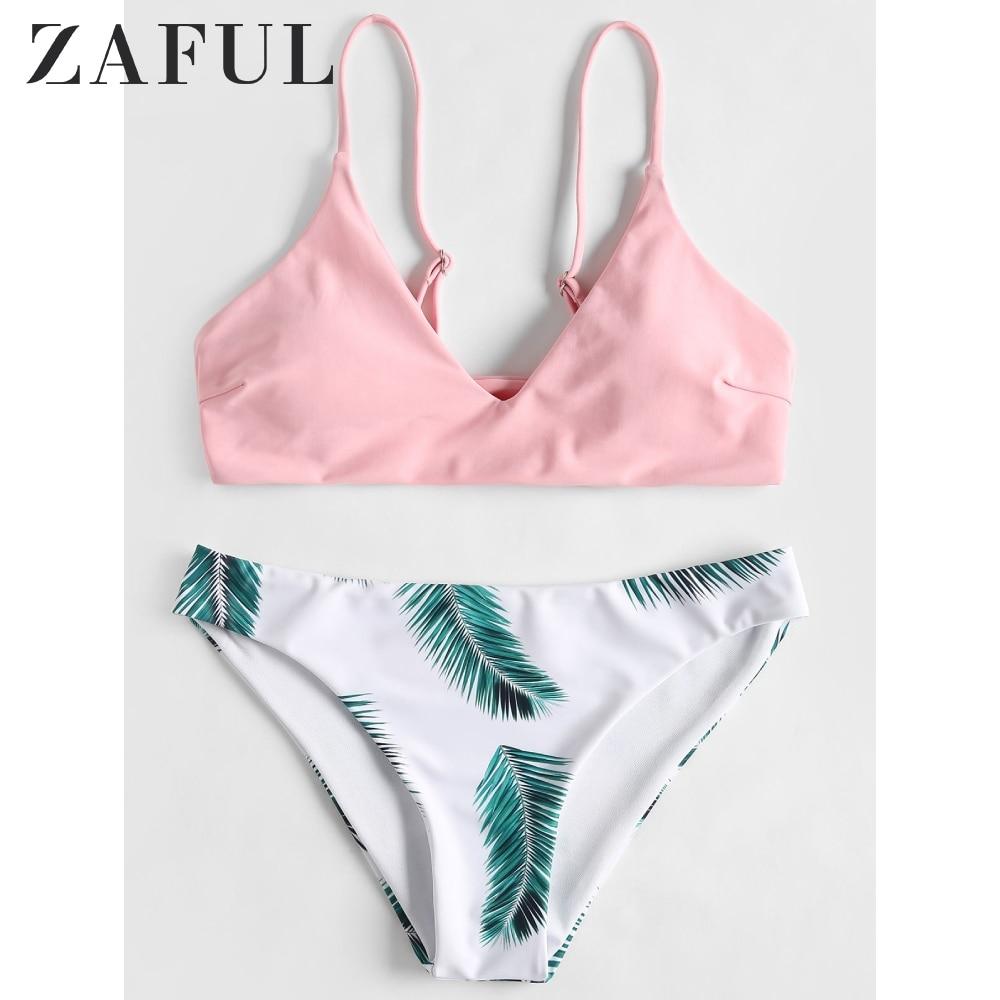 ZAFUL Floral Leaf Print Bikini Set Tropical Neon Bikini Elastic Summer Spaghetti Strap Bra Basic Briefs Women Padded Bikini Set