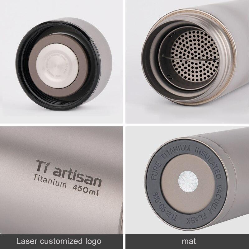 Tiartisan чистый titanium портативная чашка для воды 450 мл кружка для чая кофе чайник бутылка для напитков с двойными стенками Вакуумная бутылка спо... - 6