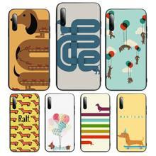 Cartoon Dachshund Sausage Dog Phone Case For Samsung S note S10E 6 7 8 9 10 20 plus edge lite Cover Fundas Coque
