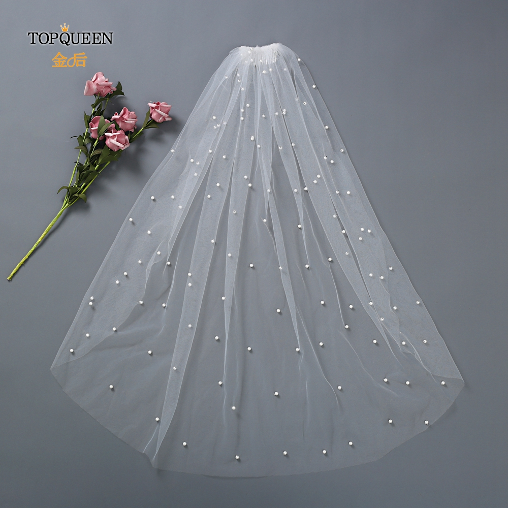 TOPQUEEN VP05 Elegant Wedding Veil 1 Layers Bridal Veils 2019 Pearl Wedding Veil White Ivory Wedding Vail Bridal Veils With Comb