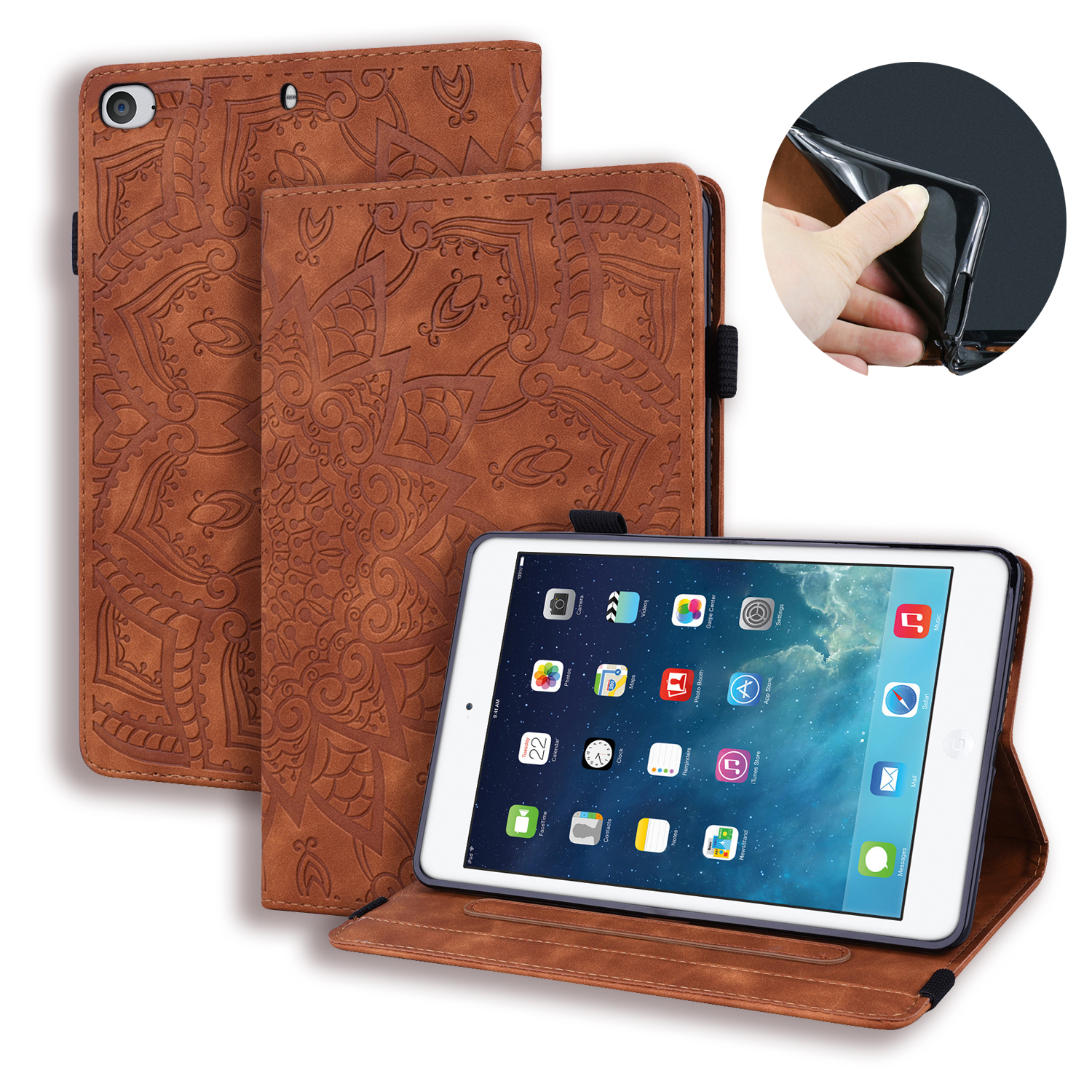For <font><b>iPad</b></font> Mini 3 2 1 PU Leather Cover Funda Capa Case For Apple <font><b>iPad</b></font> Mini 1 2 3 <font><b>A1432</b></font> A1454 tablet Cover Flip <font><b>Coque</b></font> image