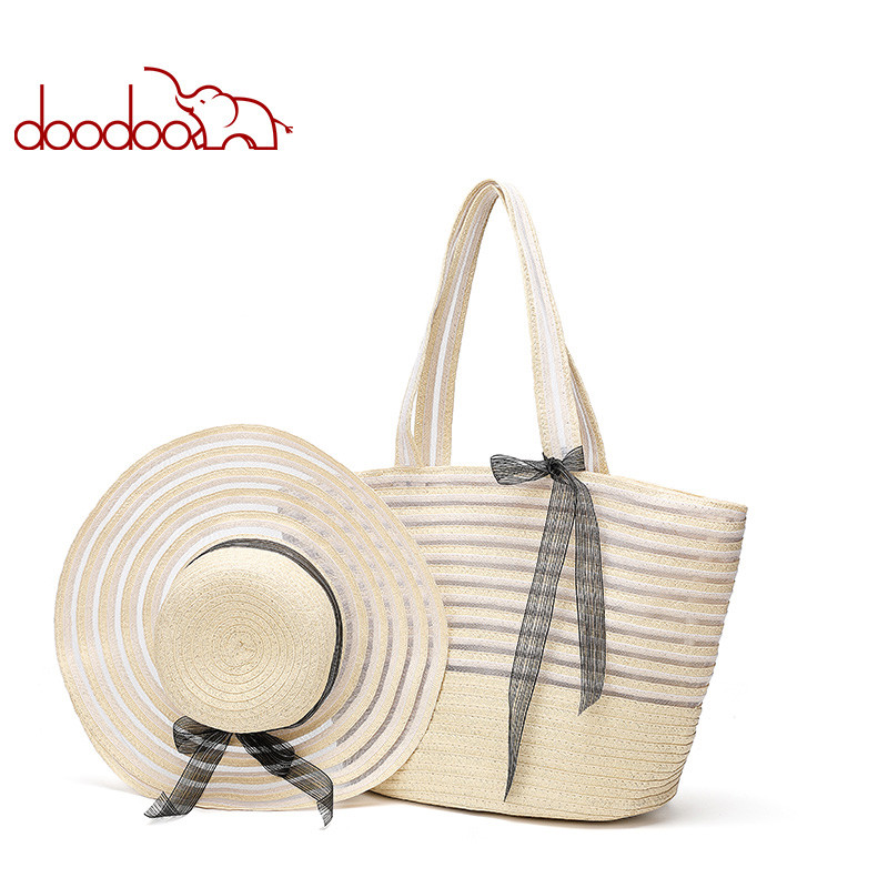 DOODOO Woven Bag Female 2020 Spring And Summer New Fashion Handbag Shoulder Straw Waterproof Female Bag Beach Hat Suit