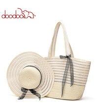 DOODOO Woven Bag Female 2020 Spring and Summer New Fashion Handbag Shoulder Straw waterproof female bag Beach Hat Suit