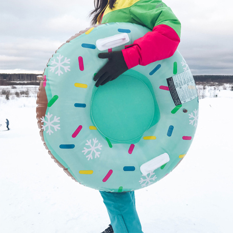 Ski Boards Kids Gift Cute Donut Snow Sled With Handle Winter Outdoor Sports Snowboarding Snow Tube Grass Sand Skiing Board Tyre
