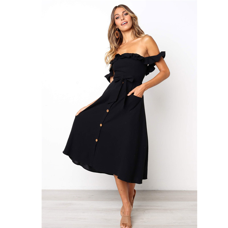 2019 <font><b>Sexy</b></font> <font><b>Backless</b></font> Women Summer <font><b>Dress</b></font> Ruffles Off Shoulder Beach <font><b>Dress</b></font> Buttons Strapless Long Sundress Boho Midi <font><b>Dress</b></font> Vestidos image